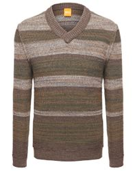 BOSS Orange | Brown 'kayne' | Virgin Wool Alpaca Blend Textured Sweater for Men | Lyst