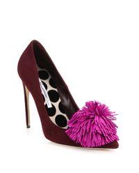 Brian Atwood - Purple Alis Suede Pom-pom Pumps - Lyst