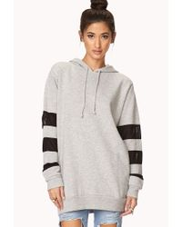 Forever 21 | Gray Mesh-trimmed Longline Hoodie | Lyst