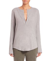 James Perse | Gray Open Henley Jersey Top | Lyst