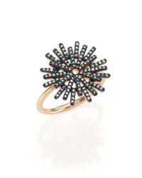 Astley Clarke | Black Rising Sun Firework Blue Diamond & 14k Yellow Gold Ring | Lyst