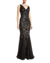 David Meister | Black Sleeveless Floral Beaded Godet Gown | Lyst