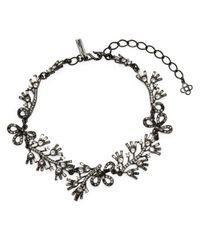Oscar de la Renta | Black Floral Baguette Bib Necklace | Lyst
