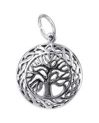 Aeravida - Metallic Celtic Framed Tree Of Life .925 Sterling Silver Pendant/charm - Lyst
