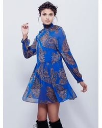 Free People | Blue Womens Moonstruck Printed Mini Dress | Lyst