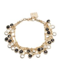 Anne Klein | Black And White Dangling Stone Bracelet | Lyst