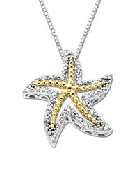 Lord & Taylor | Metallic Diamond Starfish Pendant In Sterling Silver With 14k Yellow Gold | Lyst