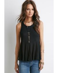 Forever 21 | Black Ribbed Trapeze Tank | Lyst