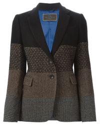 Etro - Brown Patchwork Tweed Blazer - Lyst