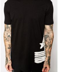 ASOS - Black Longline T-Shirt With Usa Flag Print And Skater Fit for Men - Lyst