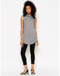 ASOS | Natural Longline Sleeveless Shirt | Lyst