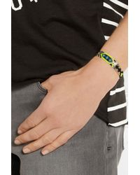 Dezso by Sara Beltran Blue Shark Tooth Woven Cotton And Silver Friendship Bracelet