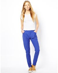 American Vintage - Blue Cotton Trousers in Reverse Flamed - Lyst