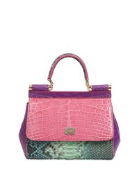 Lyst - Dolce   Gabbana Small Sicily Reptile Patchwork Bag a5ba524217a
