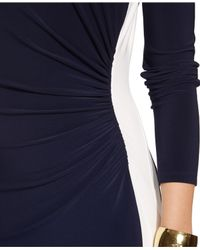 Lauren by Ralph Lauren - Blue Two-Tone Dress - Lyst