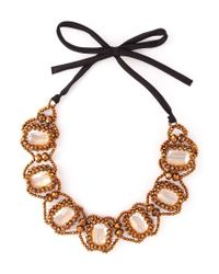 Night Market - Metallic Embellished Ribbon Necklace - Lyst