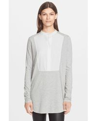 Vince | Gray Tuxedo Inset Mixed Media Top | Lyst