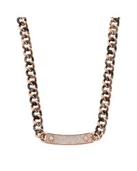 Michael Kors | Pink Pavé Stainless Steel And Tortoise Acetate Necklace | Lyst