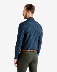 Ted Baker | Blue Targetz Circle Print Shirt for Men | Lyst
