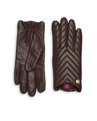 Vince Camuto | Brown Chevron Quilted Leather Gloves | Lyst