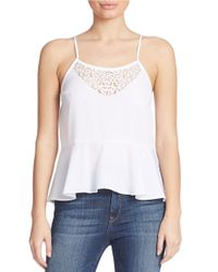 Guess - White Embellished Peplum Tank Top - Lyst