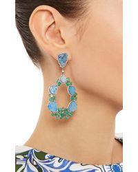 Nina Runsdorf - One Of A Kind 18K White Gold, Blue Opal And Emerald Earrnigs - Lyst