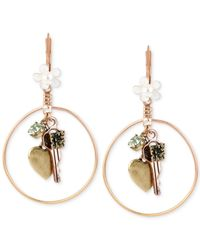 Betsey Johnson | Metallic Gold-tone Multi-charm Round Drop Earrings | Lyst