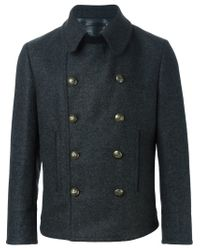 Dolce & Gabbana - Gray Short Double Breasted Coat for Men - Lyst