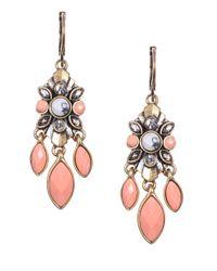 Anne Klein | Pink Goldtone Embellished Drop Earrings | Lyst