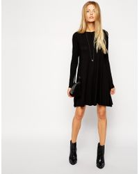 ASOS | Black Swing Dress With Long Sleeves And Seam Detail | Lyst