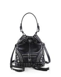 Prada - Black Soft Calf Studded Small Bucket Bag - Lyst