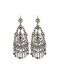 Jose & Maria Barrera | Metallic Gunmetal Filigree Crystal Chandelier Earrings | Lyst