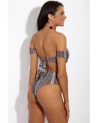 S.I.E SWIM Multicolor Moss Cheeky High-waisted Bikini Bottom - Stripe Print