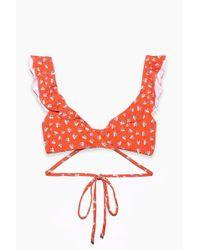 Beach Riot - Lauren Ruffle Wrap Bikini Top - Orange Ditsy Floral - Lyst