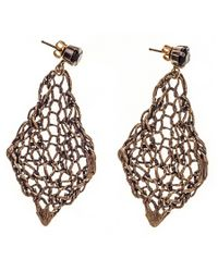 Black.co.uk - Brown Vela Bronze And Agate Earrings - Lyst