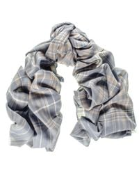Black.co.uk - Gray Albion Check Merino Wool And Silk Scarf for Men - Lyst