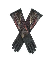 Black.co.uk - Multicolor Embroidered Long Suede Gloves - Lyst