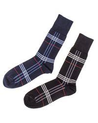 0068d217d Black.co.uk Set Of Two Egyptian Cotton Tartan Socks in Blue for Men ...