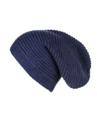 Black.co.uk   Midnight Navy Blue Rib Knit Cashmere Slouch Beanie for Men   Lyst