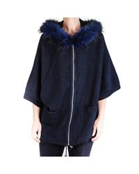 Black.co.uk - Blue Midnight Navy Hooded Coatigan With Fur Trim - Lyst