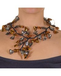Black.co.uk - Metallic Gold And Silver Smokey Quartz Crystal Waterfall Necklace - Lyst