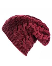 Black.co.uk | Red Burgundy Cable Knit Cashmere Slouch Beanie | Lyst