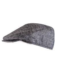 Black.co.uk - Gray Herringbone Cashmere Flat Cap for Men - Lyst
