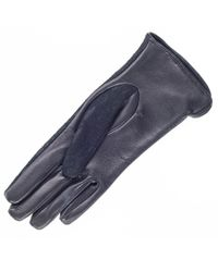 Black.co.uk - Blue Black Leather And Lace Silk Lined Leather Gloves - Lyst