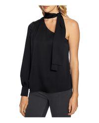 1.STATE Black Tie-neck One-shoulder Top