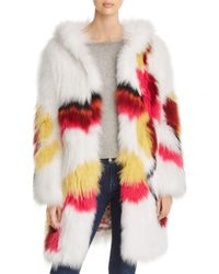 Maximilian Multicolor Floral Fox Fur Coat