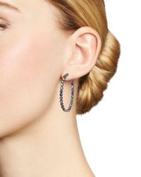 Shebee - Metallic Blackened Sterling Silver & Multicolor Sapphire Inside-out Oval Hoop Earrings - Lyst