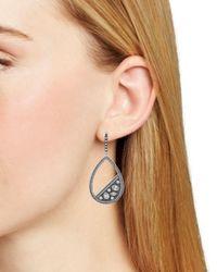 Freida Rothman Metallic Open Teardrop Earrings