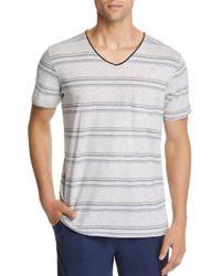 Daniel Buchler - Blue Lounge Striped Short - Sleeve V - Neck Tee for Men - Lyst