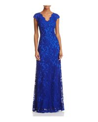 Tadashi Shoji - Blue Illusion Lace Gown - Lyst